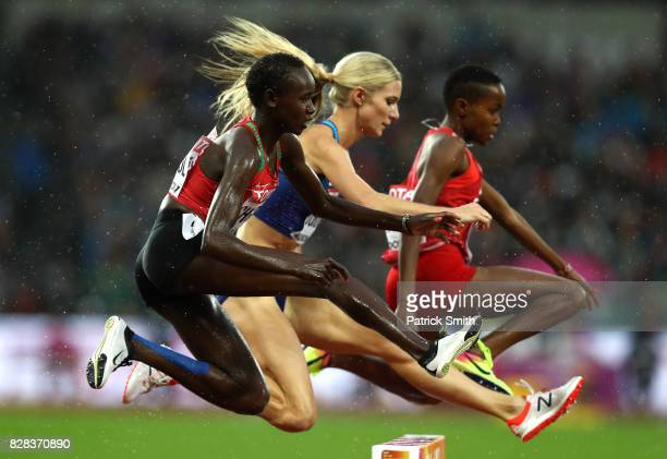 Celliphine Chepteek Chespol of Kenya Emma Coburn of the United States and Winfred Mutile Yavi of Bahrain compete in the Women's 3000 metres...
