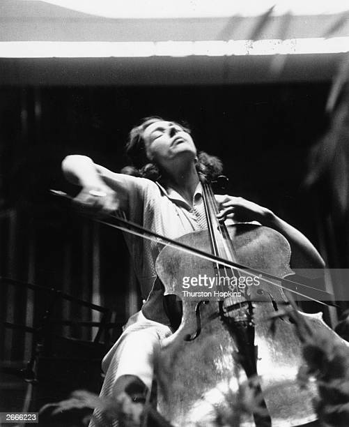 Cellist Amaryllis Fleming daughter of artist Augustus John playing a solo at her Promenades debut Original Publication Picture Post 6714 Amaryllis...