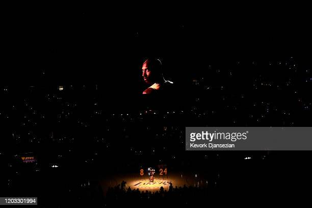 Cellist Ben Hong performs during the Los Angeles Lakers pregame ceremony to honor Kobe Bryant before the game against the Portland Trail Blazers at...