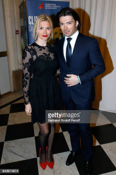 """Cellist Gautier Capucon and his wife Delphine attend the celebration of the 10th Anniversary of the """"Fondation Prince Albert II De Monaco"""" at Salle..."""