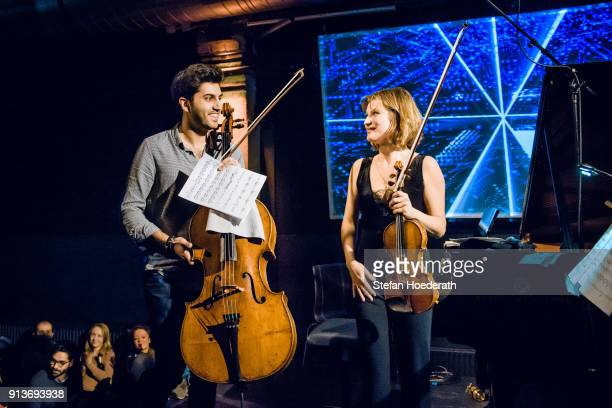 Cellist Kian Soltani and violinist Lisa Batiashvili perform live on stage during Yellow Lounge organized by recording label Deutsche Grammophon at...