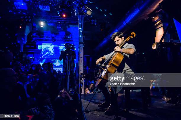 Cellist Kian Soltani performs live on stage during Yellow Lounge organized by recording label Deutsche Grammophon at Gretchen on January 23 2018 in...