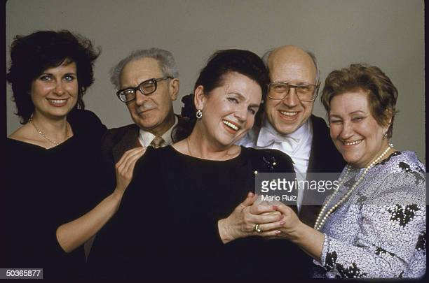 Cellist Mstislav Rostropovich posing with his wife Galina Vishnevskaya daughter Olga at a reunion with violinist sister Veronika L Rostropovich and...