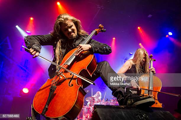 Cellist Perttu Kivilaakso drummer Mikko Siren and cellist Eicca Toppinen of Apocalyptica perform at The Fillmore on May 2 2016 in San Francisco...