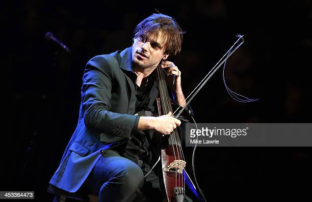 Cellist Stjepan Hauser of 2Cellos performs prior to Elton John at Madison Square Garden on December 3 2013 in New York City
