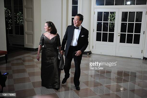 Cellist Yo Yo Ma and Jill Hornor arrive for the State Dinner in honor of Chinese President Hu on January 19 2011 at the white House in Washington DC...
