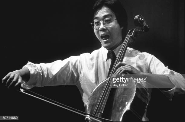 Cellist Yo Yo Ma rehearsing at Dade Auditorium