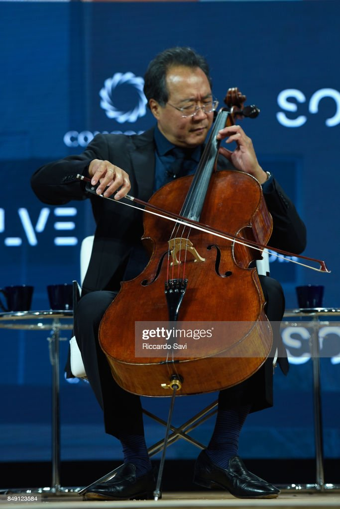 Cellist Yo-Yo Ma, Curator of the MIT Solve Arts and Culture Mentorship Prize, performs onstage during The 2017 Concordia Annual Summit at Grand Hyatt New York on September 18, 2017 in New York City.
