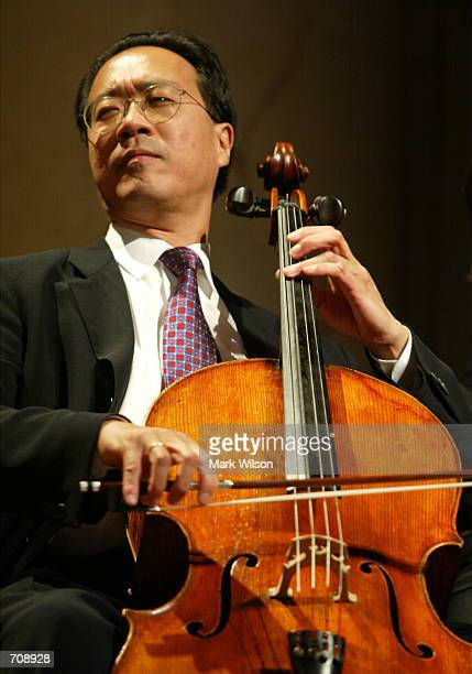 Cellist YoYo Ma performs during the National Endowment for the Arts National Medal of Arts Awards ceremony April 22 2002 in Washington DC Ma was...