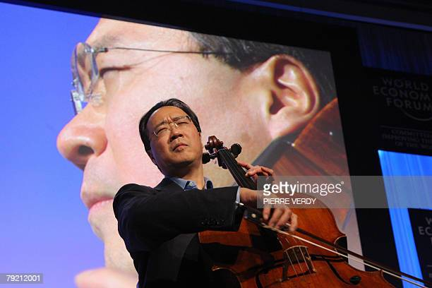 US cellist YoYo Ma plays at the congress center before receiving a Crystal Award at the World Economic Forum in Davos 25 January 2008 AFP PHOTO...