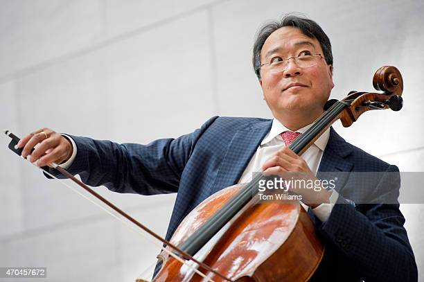 Cellist YoYo Ma plays in the National Gallery of Art's East Building after he participated in a panel discussion on the role of art in diplomacy...