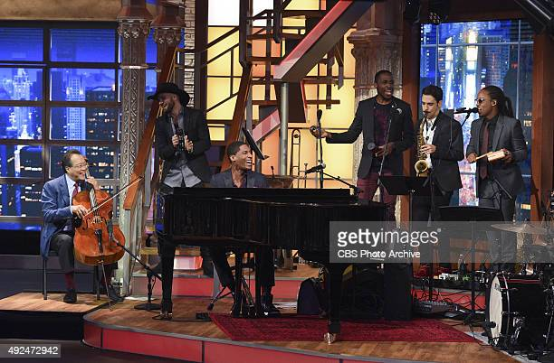 Cellist YoYo Ma plays with Jon Batiste and Stay Human on The Late Show with Stephen Colbert Monday Oct 5 2015 on the CBS Television Network