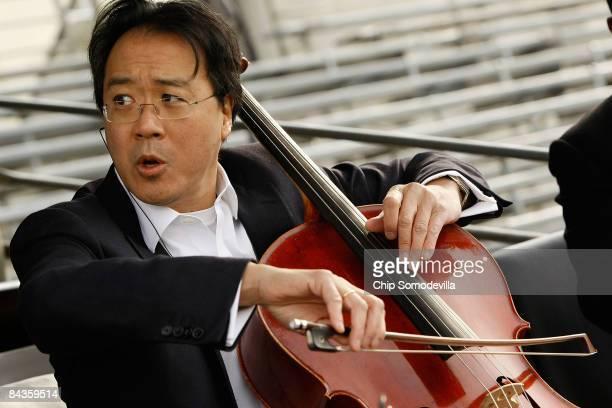 Cellist YoYo Ma rehearses for the presidential inauguration on January 19 2009 in Washington DC On January 20 2009 US PresidentElect Barack Obama...