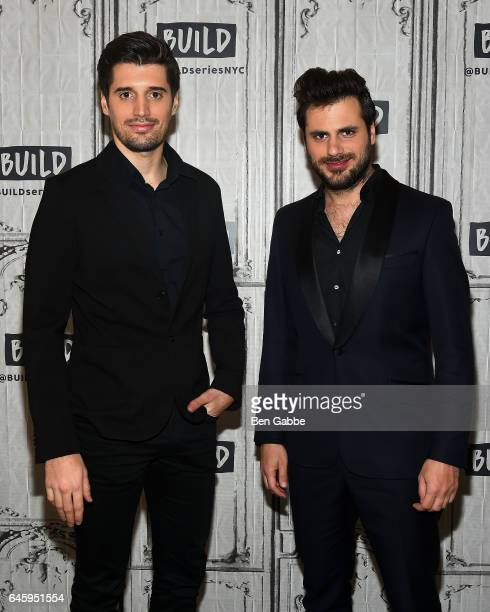 Cellists Luka Sulic and Stjepan Hauser attend the AOL Build Series at Build Studio on February 27 2017 in New York City