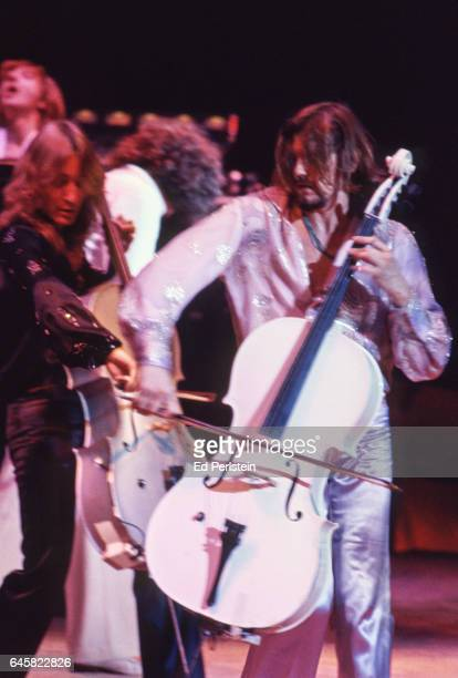 Cellists Melvyn Gale and Hugh McDowell of Electric Light Orchestra perform live at the Oakland Coliseum in Oakland California on August 23 1978