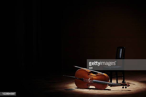 Cello and chair on stage