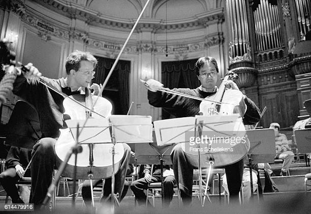 Cello players Ernst Reijseger and Yo Yo Ma perform on March 31st 1993 at the Concertgebouw in Amsterdam Netherlands