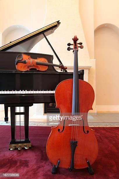 cello, violin and piano trio - cello stock pictures, royalty-free photos & images