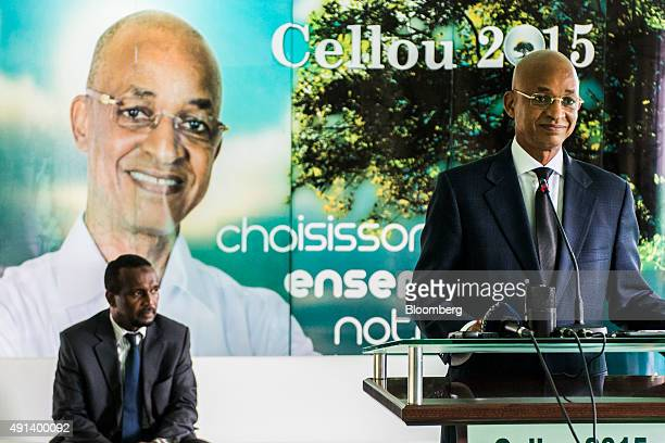 Cellou Dalein Diallo opposition presidential candidate speaks during a news conference in Conakry Guinea on Wednesday Sept 9 2015 With 43 percent of...