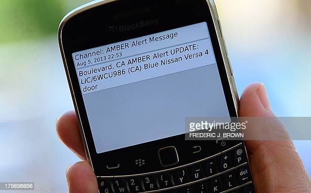 A cellphone displays the Amber Alert issued late on August 5 2013 in Los Angeles California which marked the first time officials have notified the...