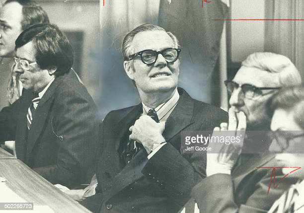 Celluloid fantasy John Bassett who never gained a parliamentary seat plays role in 1977 of cabinet minister in TV film of Richard Rohmer's novel...