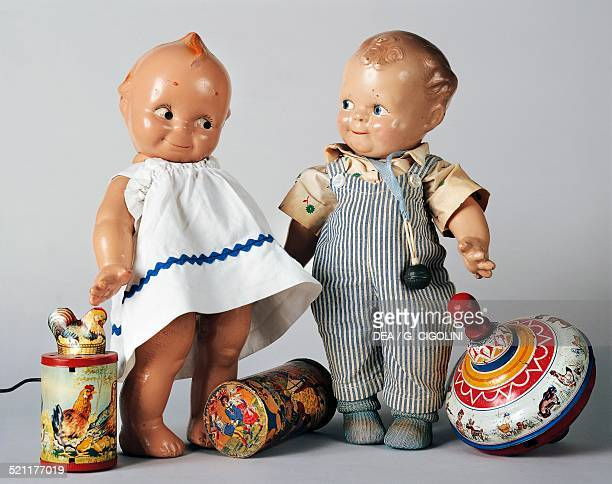 Celluloid Kewpie dolls with toys ca 1925s1930s United States of America 20th century United States