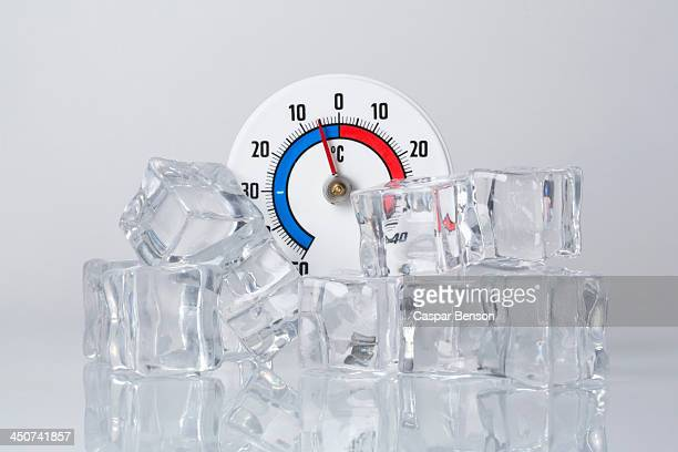 A Celsius thermometer behind a heap of ice cubes