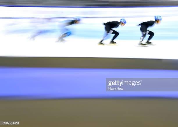 R Celski follows Thomas Insuk Hong in the Men's 1500 Meter Semifinal during the 2018 US Speedskating Short Track Olympic Team Trials at the Utah...