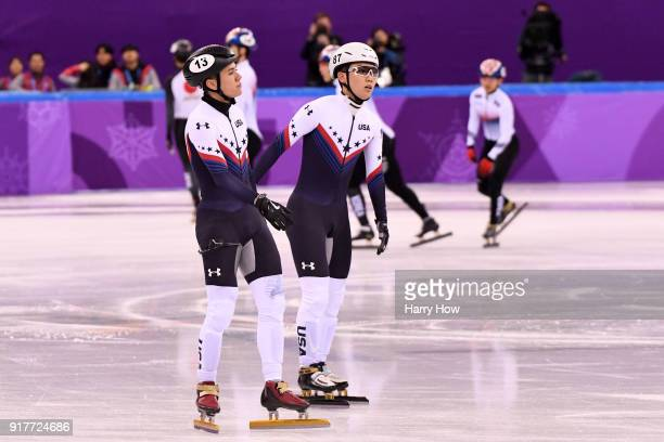 R Celski of the United States and Thomas Insuk Hong of the United States react after their finish in the Men's 5000m relay Short Track Speed Skating...