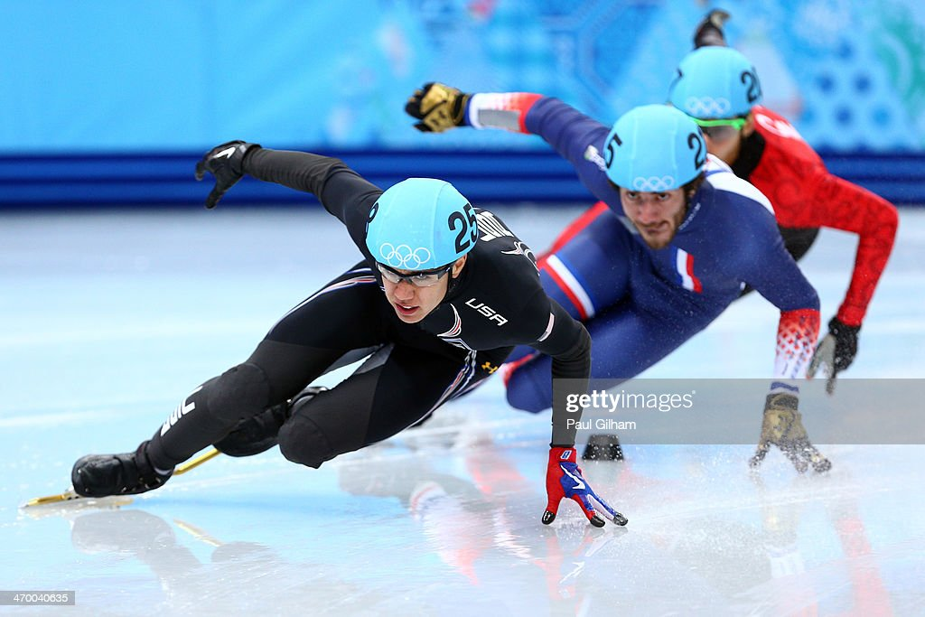 J.R. Celski of the United States leads the pack in the Short Track en's 500m Heat at Iceberg Skating Palace on day 11 of the 2014 Sochi Winter Olympics on February 18, 2014 in Sochi, Russia.
