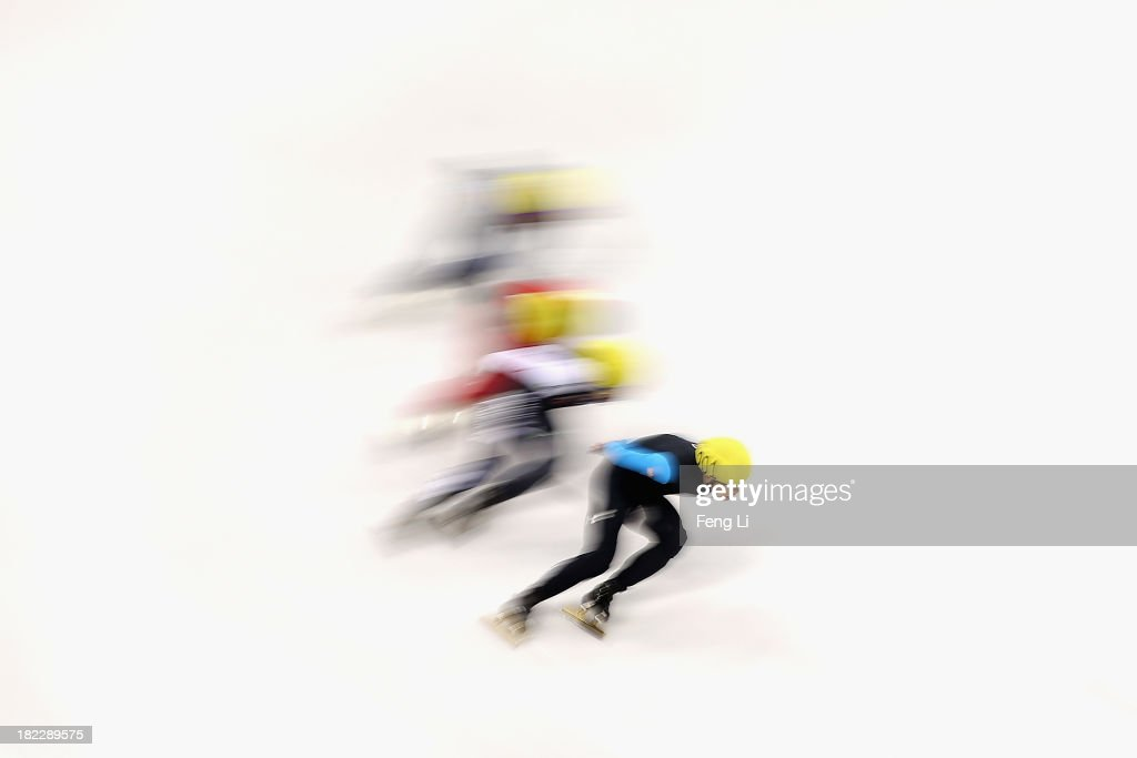 J.R. Celski of United States (Front) competes in the Men's 5000m Relay Final during day four of the Samsung ISU World Cup Short Track at the Oriental Sports Center on September 29, 2013 in Shanghai, China.