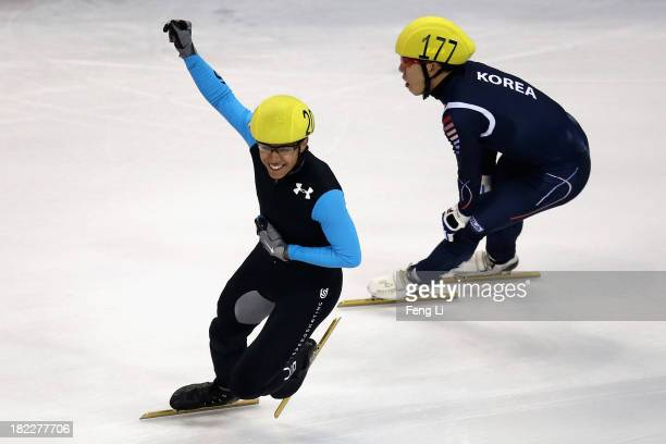 R Celski of United States team celebrates winning the Men's 5000m Relay Final during day four of the Samsung ISU World Cup Short Track at the...