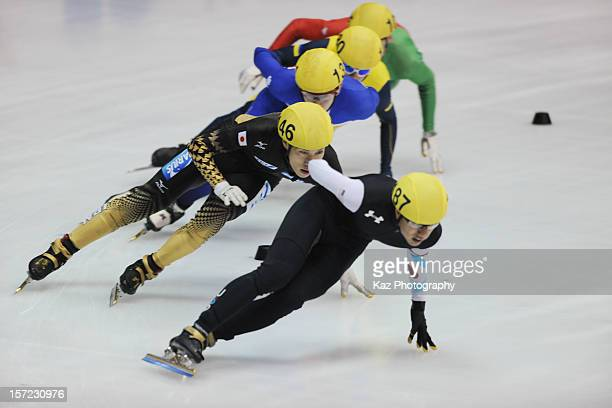 R Celski of USA leads Ryosuke Sakazume of Japan in Race 3 of Men 1000m Preliminaries during day one of the ISU World Cup Short Track at Nippon Gaishi...