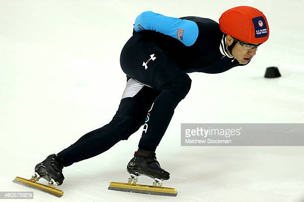 R Celski skates in the the first lady's 500 meter quarterfinal during the US Olympic Short Track Trials at the Utah Olympic Oval on January 4 2014 in...