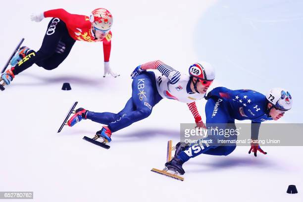 Celski United States of America competes in the Men«s 1000m quarter finals race during day two of ISU World Short Track Championships at Rotterdam...
