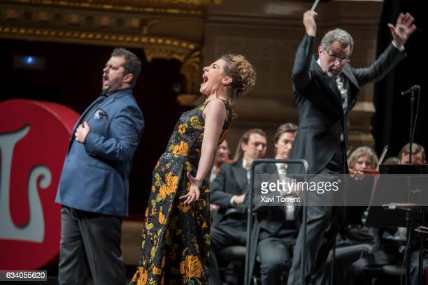 Celso Albelo and Sabina Purtolas perform on stage during the Gran Teatre del Liceu 20th Anniversary Celebrationon February 6 2017 in Barcelona Spain