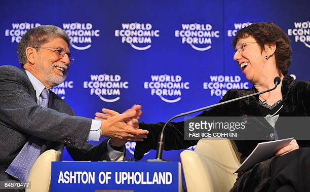 Celso Amorim Minister of Foreign Relations of Brazil talks with EU Trade Commissioner Ashton of Upholland while attending a session The Fight against...