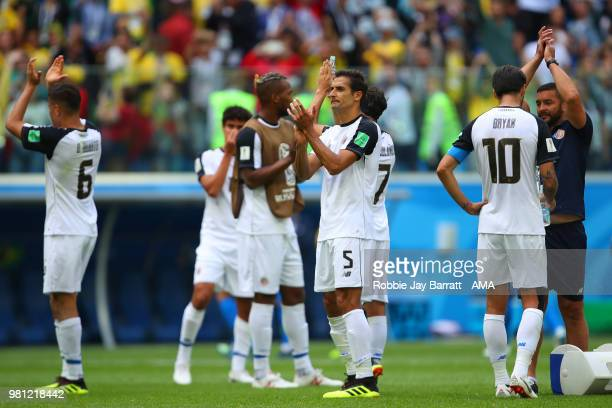 Celso Borges of Costa Rica and his teammates applaud at the end of the 2018 FIFA World Cup Russia group E match between Brazil and Costa Rica at...