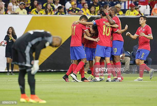Celso Borges of Costa Rica celebrates with his teammates his goal against Colombia in the second half in group A match between Colombia and Costa...