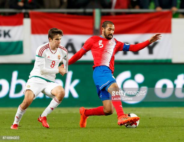 Celso Borges of Costa Rica wins the ball from Adam Nagy of Hungary during the at Groupama Arena on November 14 2017 in Budapest Hungary