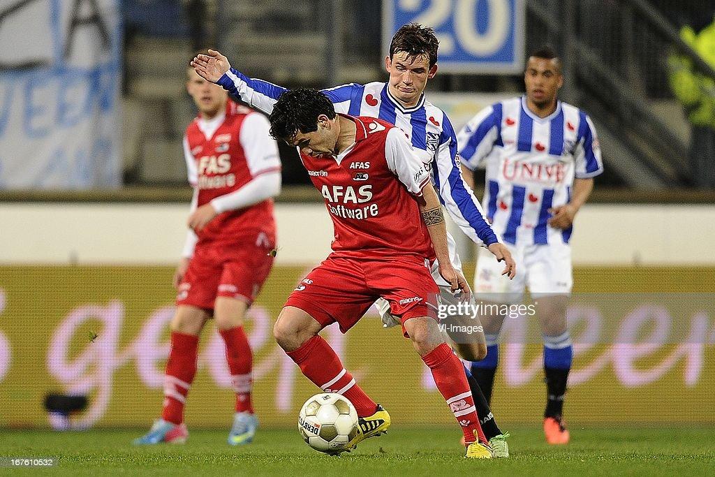 Celso Ortiz of AZ, Marten de Roon of sc Heerenveen, during the Dutch Eredivisie match between sc Heerenveen and AZ Alkmaar on April 26, 2013 at the Abe Lenstra stadium in Heerenveen, The Netherlands.