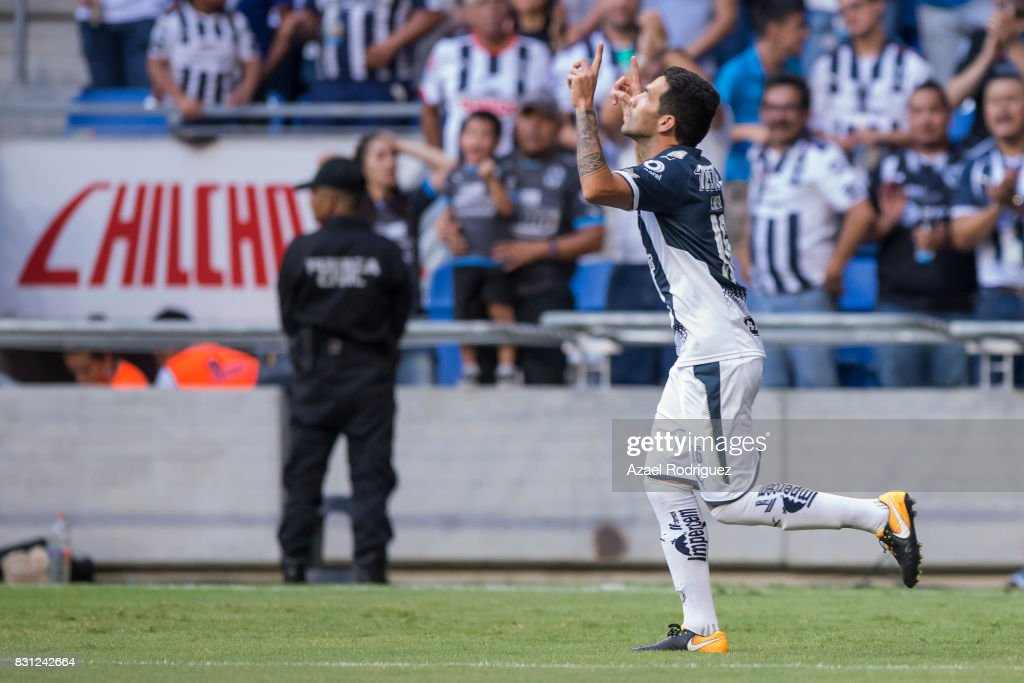 Celso Ortiz of Monterrey celebrates after scoring his team's first goal during the 4th round match between Monterrey and Chivas as part of the Torneo Apertura 2017 Liga MX at BBVA Bancomer Stadium on August 12, 2017 in Monterrey, Mexico.