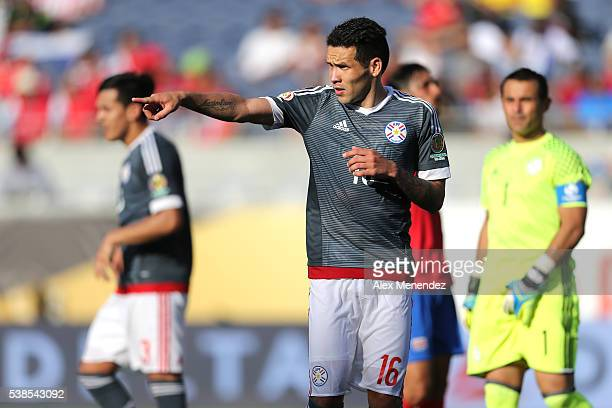 Celso Ortiz of Paraguay gives directions during the 2016 Copa America Centenario Group A match between Costa Rica and Paraguay at Camping World...