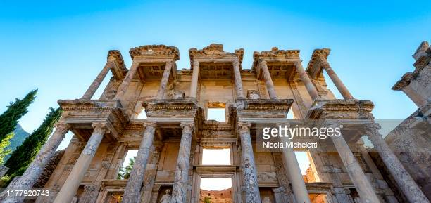celsus library - aegean turkey stock pictures, royalty-free photos & images