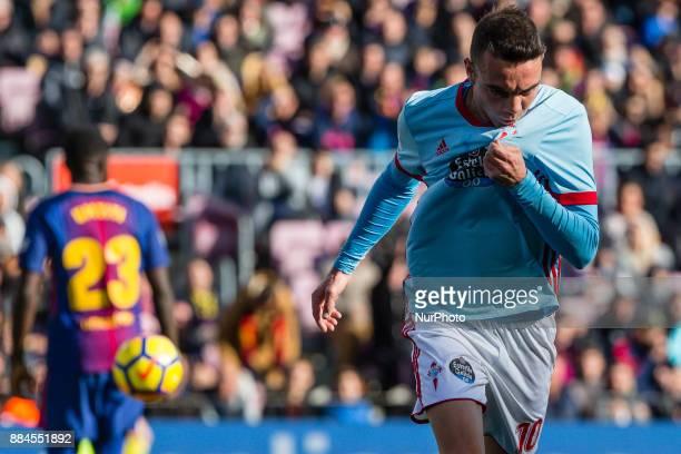Celta de Vigo forward Iago Aspas celebrates scoring the goal during the match between FC Barcelona vs Celta de Vigo for the round 14 of the Liga...