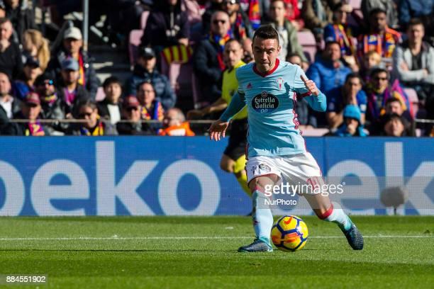 Celta de Vigo forward Iago Aspas goal action during the match between FC Barcelona vs Celta de Vigo for the round 14 of the Liga Santander played at...