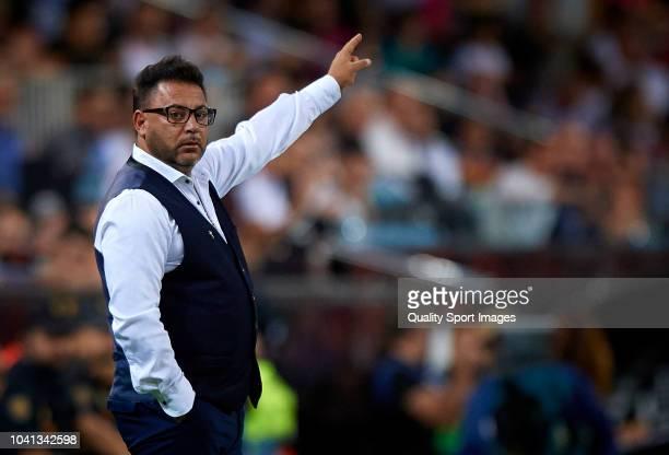 Celta de Vigo manager Antonio Mohamed reacts during the La Liga match between Valencia CF and RC Celta de Vigo at Estadio Mestalla on September 26...