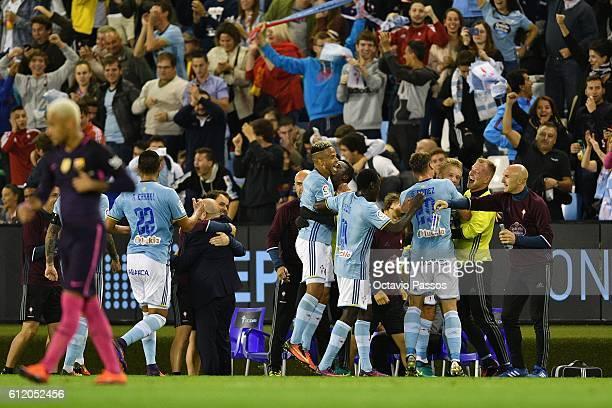 Celta de Vigo players celebrates after scoring a goal against FC Barcelona during the La Liga match between Real Club Celta de Vigo and Futbol Club...