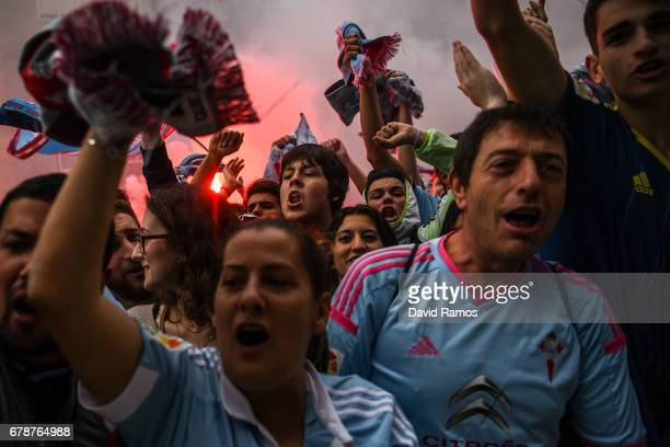 Celta Vigo fans await their team's arrival prior to kickoff during the UEFA Europa League semi final first leg match between Celta Vigo and...