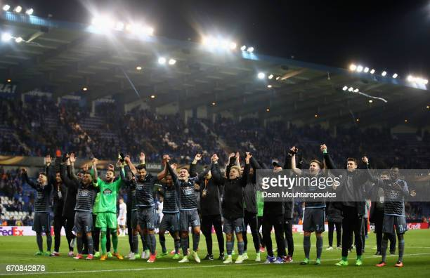 Celta Vigo players celebrate after the UEFA Europa League quarter final second leg between KRC Genk and Celta Vigo at Luminus Arena on April 20 2017...